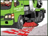 Sweeper truck happy holidays Holiday greeting card