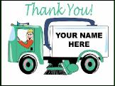 Sweeper truck Thank You Greeting Card