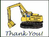Excavator Thank You Greeting Card