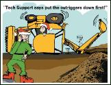 Backhoe tech support holiday greeting card