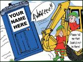 Backhoe tipping over outhouse holiday greeting card
