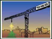 Tower crane hanging star Holiday greeting card
