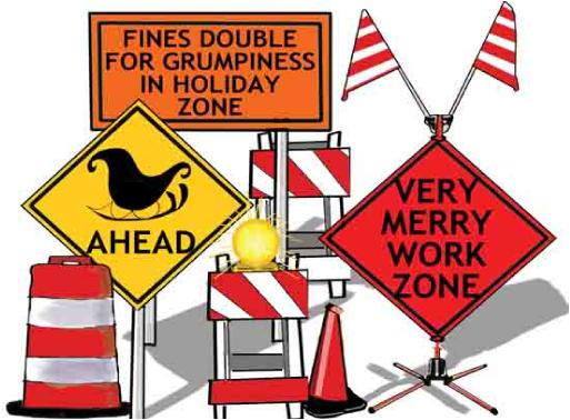 Traffic Signs for Merry Zone holiday greeting Christmas card