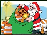 Santa filling Traffic safety sack