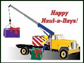 Truck crane with gifts Holiday greeting card