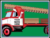 Truck hauling building materials holiday greeting card