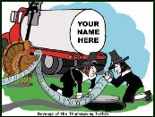 Turkey and septic truck holiday greeting card