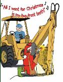 Two front teeth backhoe holiday greeting card