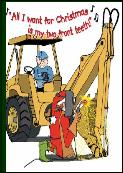 Welding backhoe two front teeth holiday greeting card