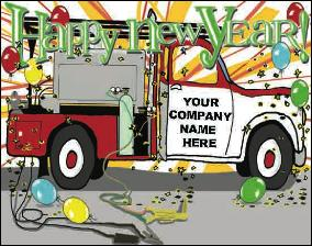 Happy New Year Welding truck Holiday Christmas Greeting Card