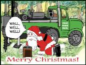 Santa well well well holiday greeting card