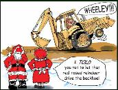 Backhoe wheely holiday greeting card