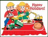 Christmas dinner construction equipment holiday greeting card